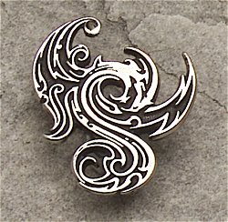 "... by Celtic Knotwork and two small jewels. Has chain. 1"" x 1 1/2"" AZ"