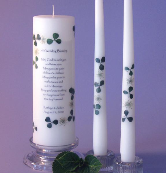 Irish 2 Corner Unity Candle Set