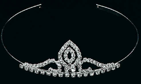 A delicate rhinestone design makes this silvertone metal tiara and headband