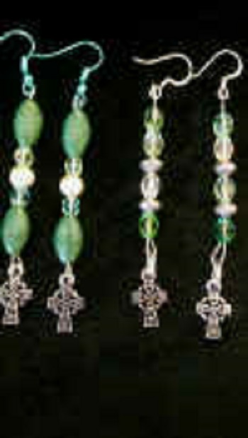Celtic Cross Beaded Earrings