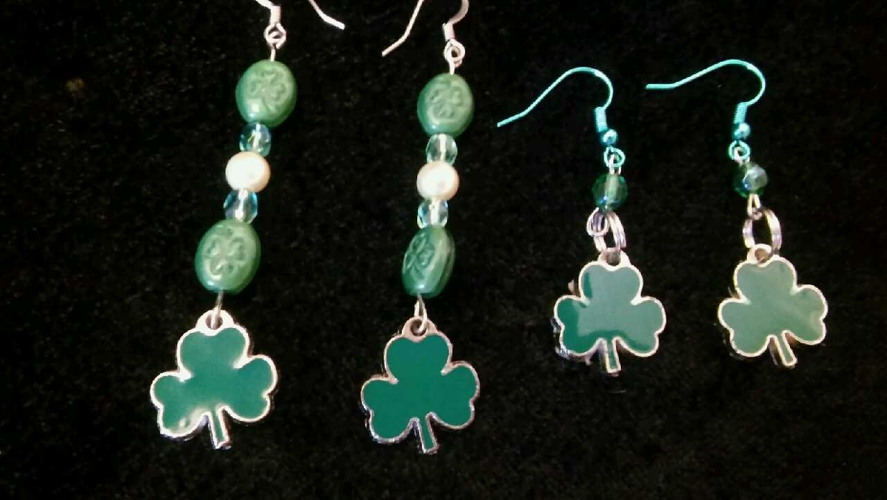 Irish Beaded Shamrock Earrings