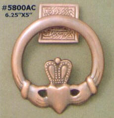 Copper claddagh doorknocker