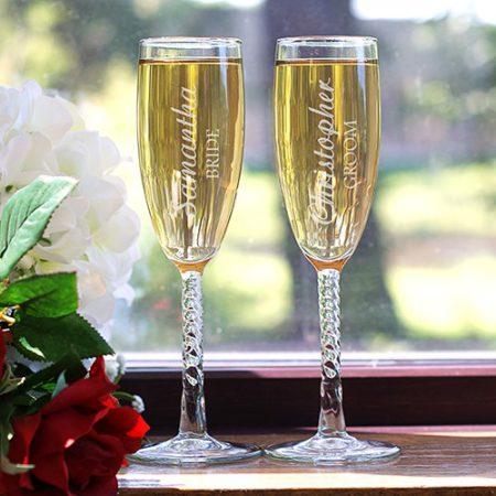 bride groom flutes
