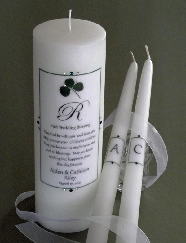celtic attic  wedding candles  claddagh unity  altar candles  shamrock  claddagh
